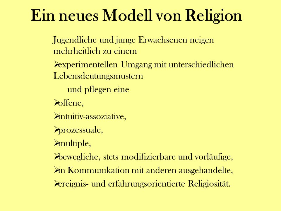 Ein neues Modell von Religion