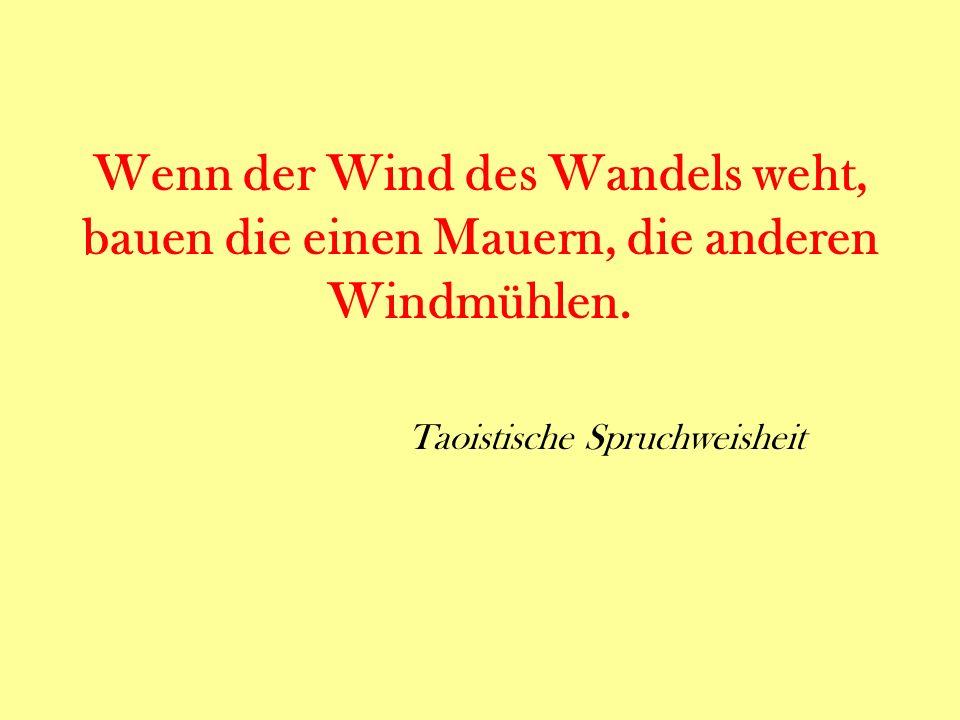 Wenn der Wind des Wandels weht, bauen die einen Mauern, die anderen Windmühlen.