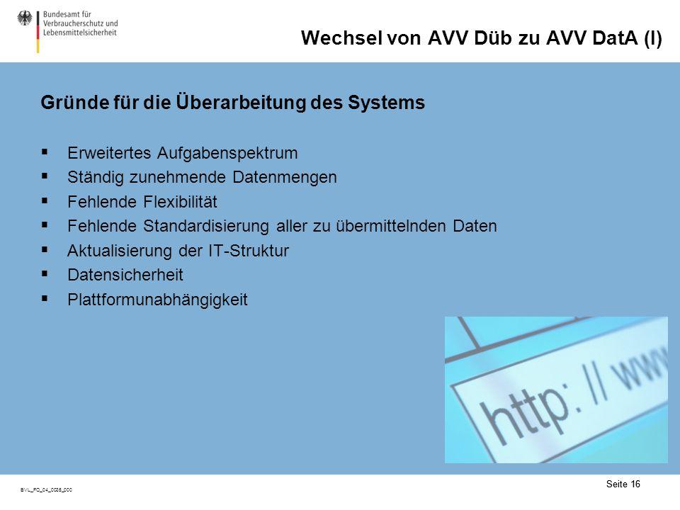 Wechsel von AVV Düb zu AVV DatA (II)