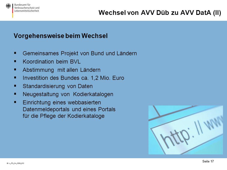 Wechsel von AVV Düb zu AVV DatA (III)