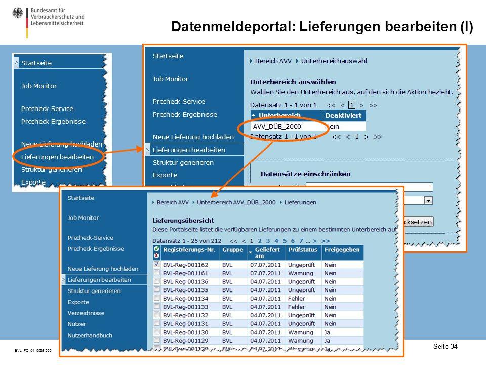 Datenmeldeportal: Lieferungen bearbeiten (II)