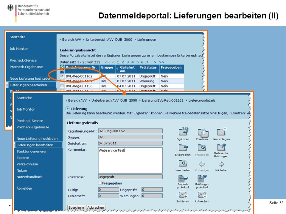 Datenmeldeportal: Webservices