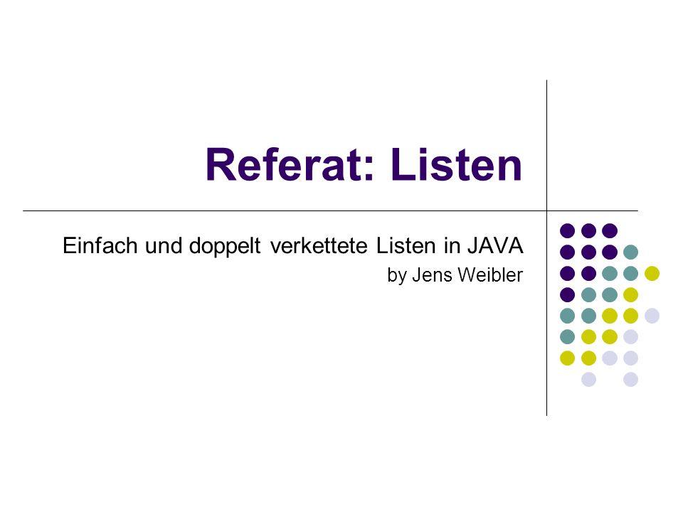 Einfach und doppelt verkettete Listen in JAVA by Jens Weibler