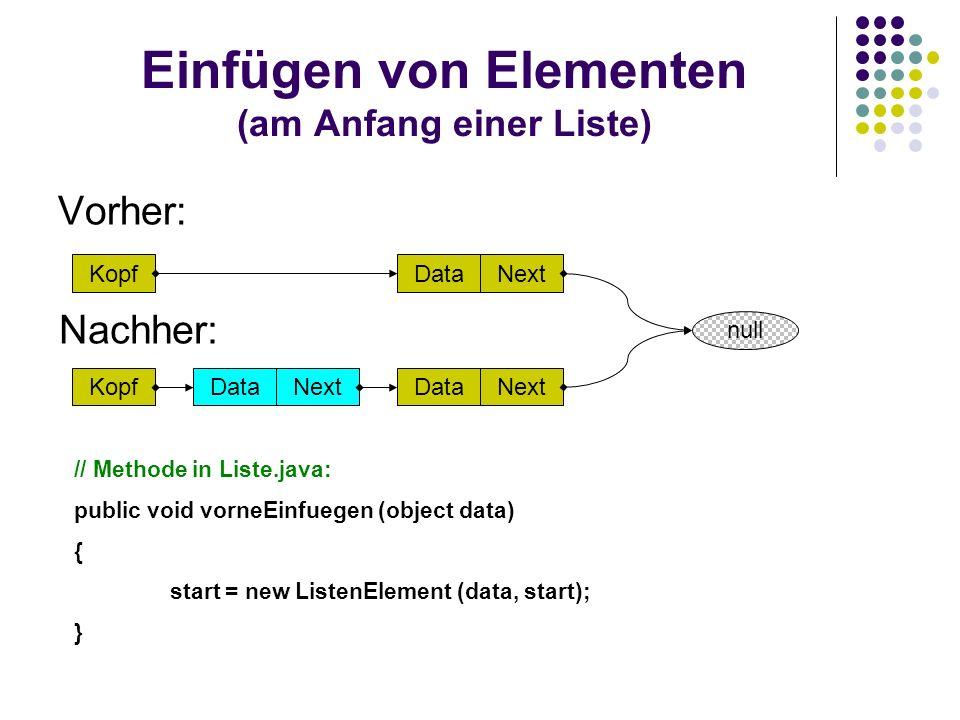 Einfügen von Elementen (am Anfang einer Liste)