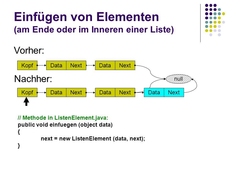 Einfügen von Elementen (am Ende oder im Inneren einer Liste)