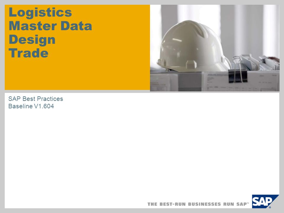 Logistics Master Data Design