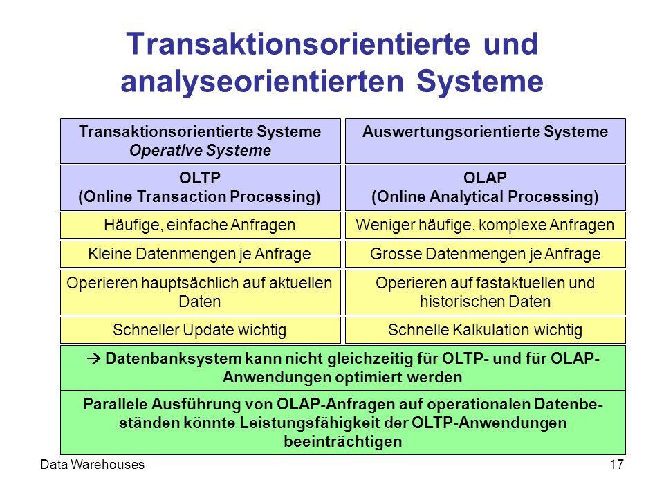 Transaktionsorientierte und analyseorientierten Systeme