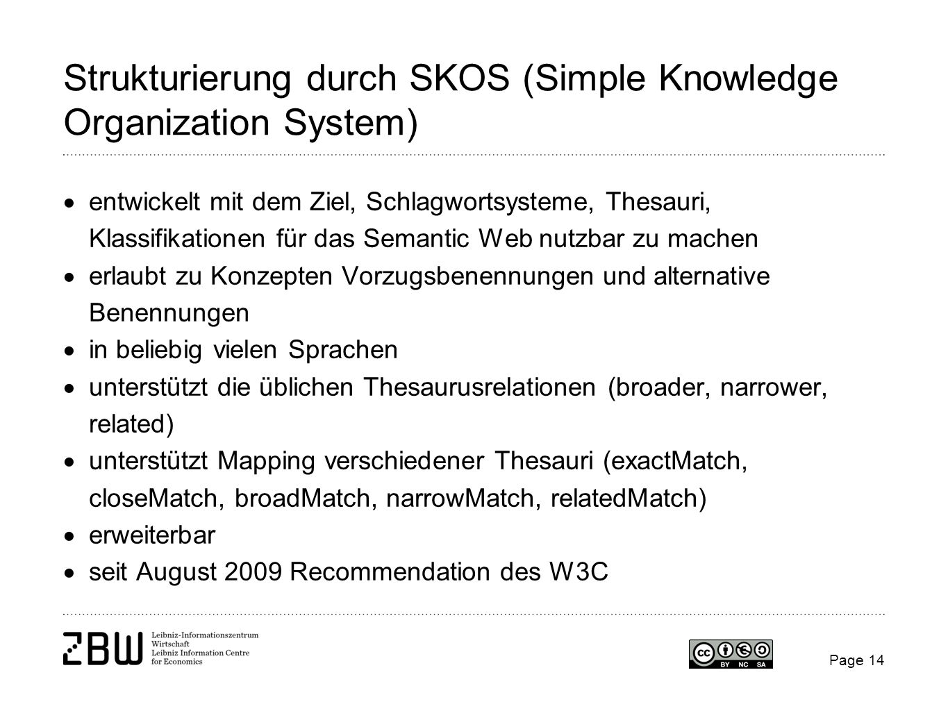 Strukturierung durch SKOS (Simple Knowledge Organization System)