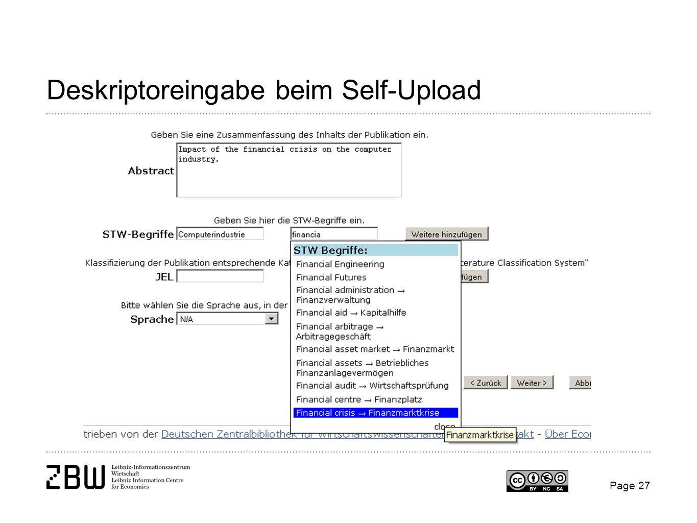 Deskriptoreingabe beim Self-Upload