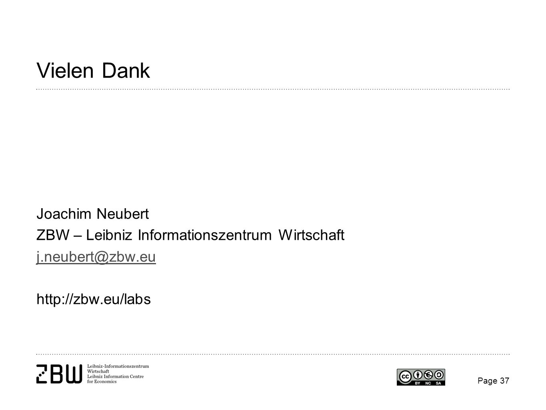 Vielen Dank Joachim Neubert