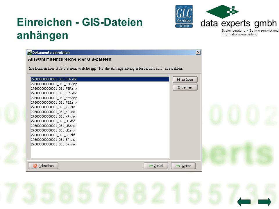 Einreichen - GIS-Dateien anhängen