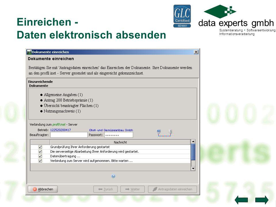 Einreichen - Daten elektronisch absenden