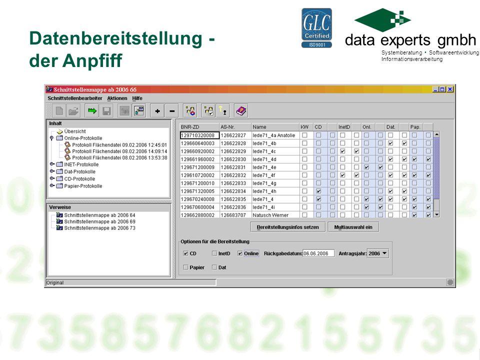 Datenbereitstellung - der Anpfiff