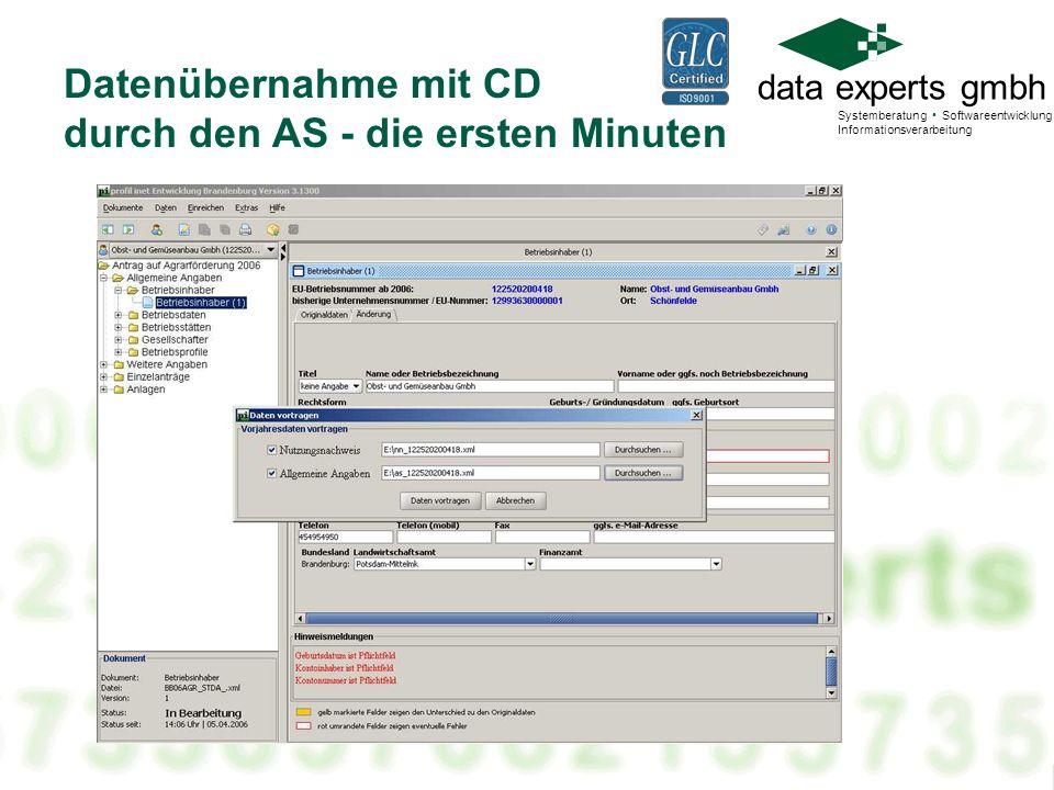 Datenübernahme mit CD durch den AS - die ersten Minuten