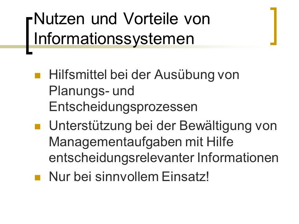 Nutzen und Vorteile von Informationssystemen