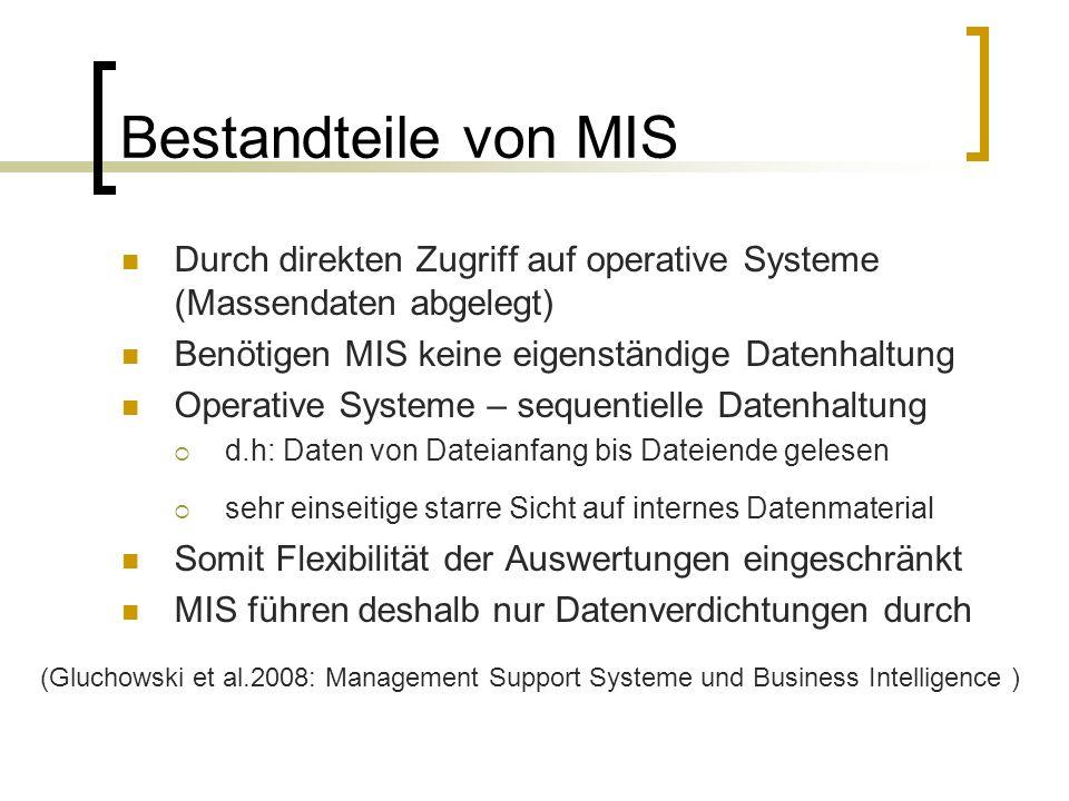 Bestandteile von MIS Durch direkten Zugriff auf operative Systeme (Massendaten abgelegt) Benötigen MIS keine eigenständige Datenhaltung.