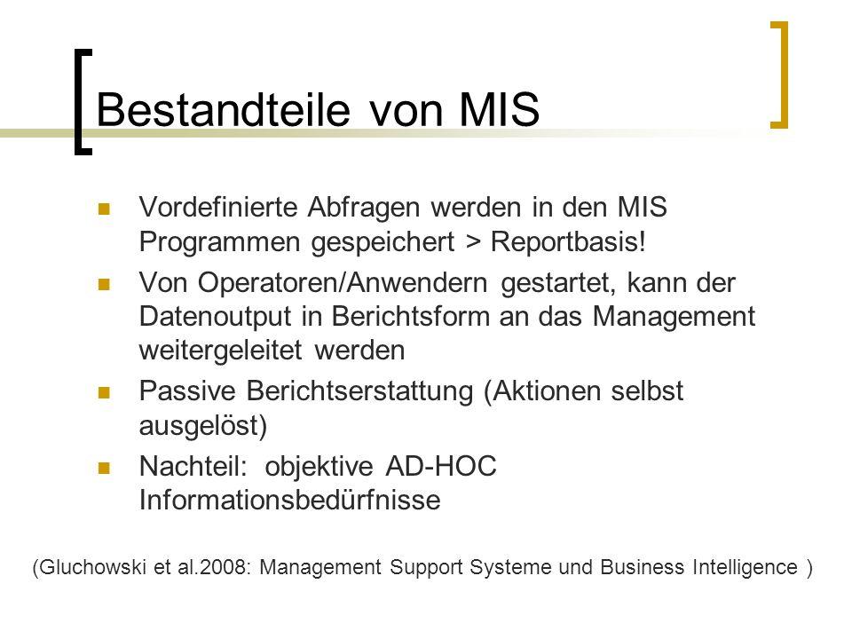 Bestandteile von MIS Vordefinierte Abfragen werden in den MIS Programmen gespeichert > Reportbasis!