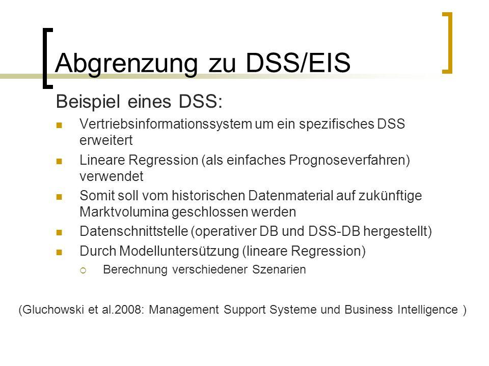 Abgrenzung zu DSS/EIS Beispiel eines DSS:
