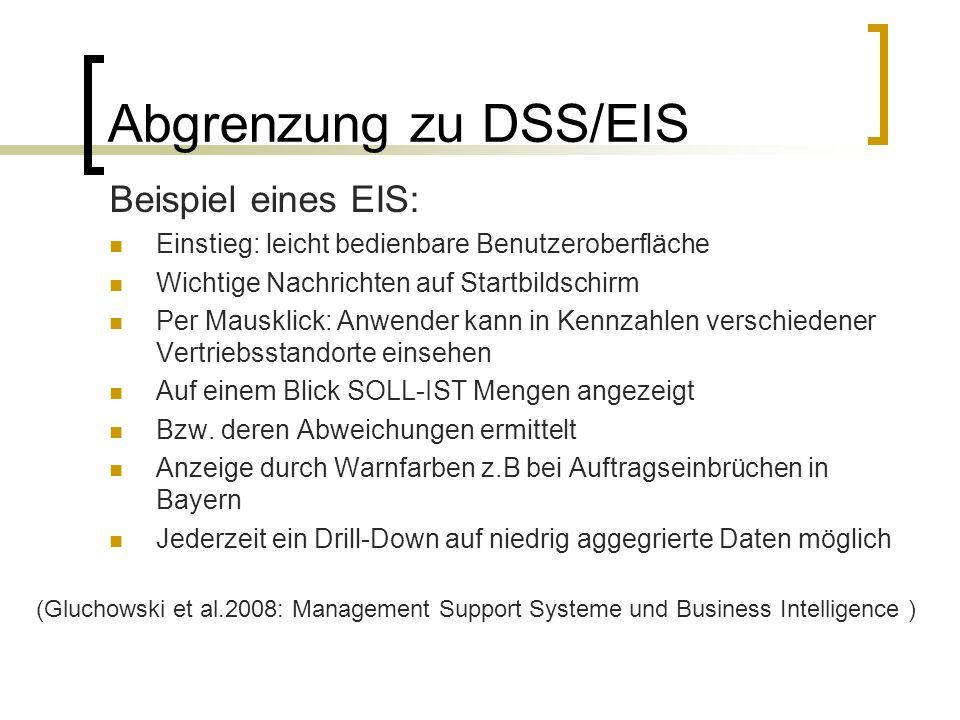 Abgrenzung zu DSS/EIS Beispiel eines EIS: