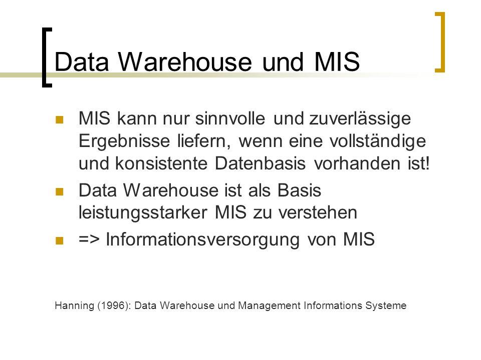 Data Warehouse und MIS MIS kann nur sinnvolle und zuverlässige Ergebnisse liefern, wenn eine vollständige und konsistente Datenbasis vorhanden ist!