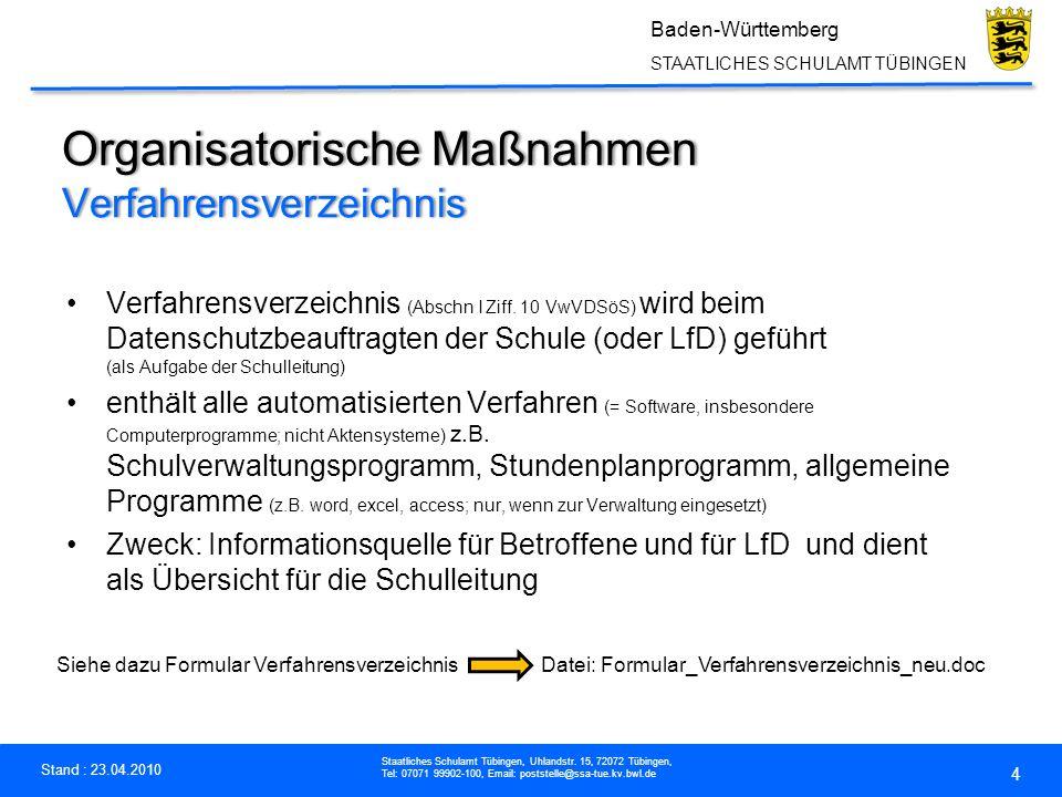 Organisatorische Maßnahmen Verfahrensverzeichnis