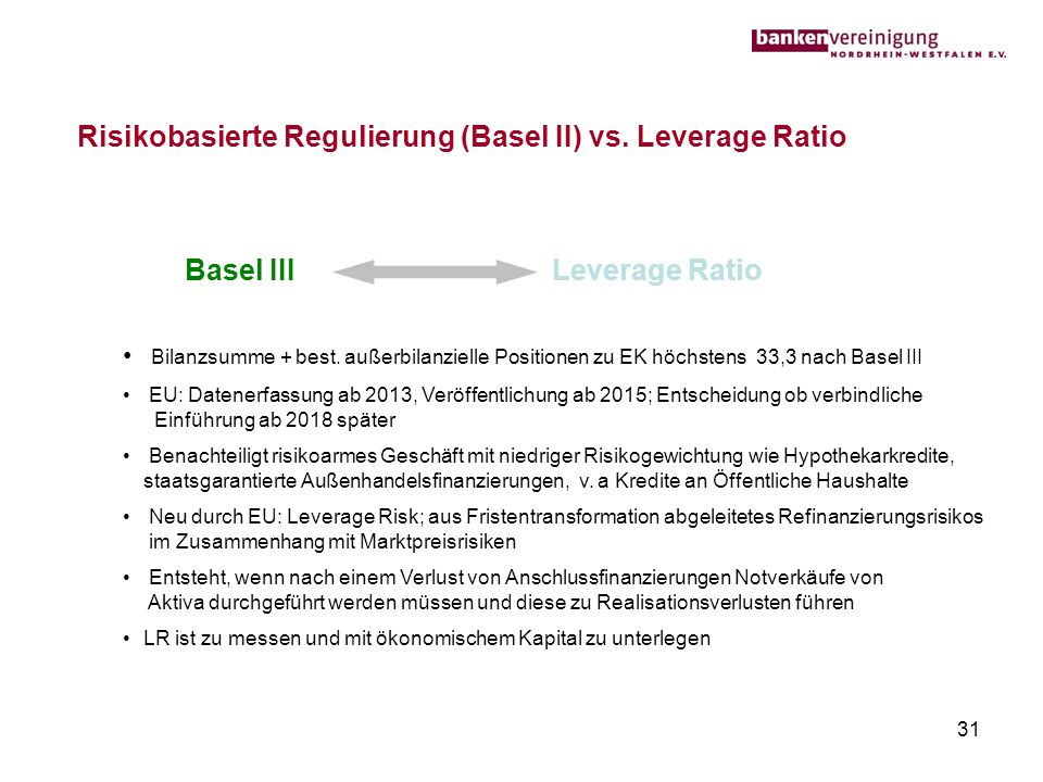 Risikobasierte Regulierung (Basel II) vs. Leverage Ratio