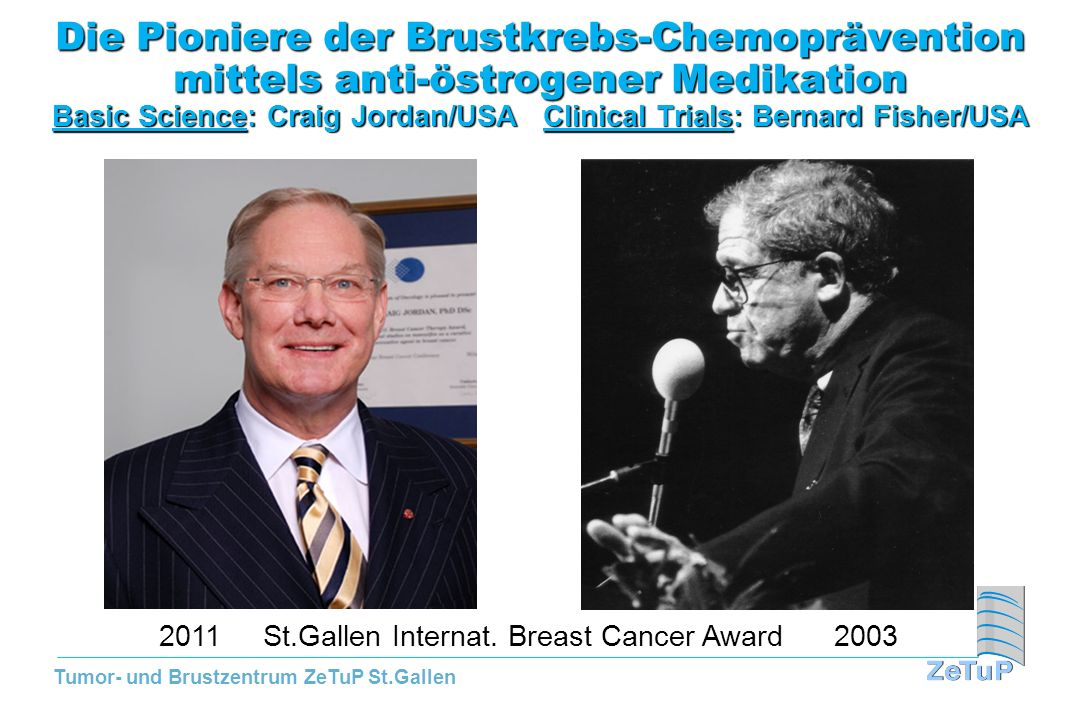 Die Pioniere der Brustkrebs-Chemoprävention mittels anti-östrogener Medikation Basic Science: Craig Jordan/USA Clinical Trials: Bernard Fisher/USA