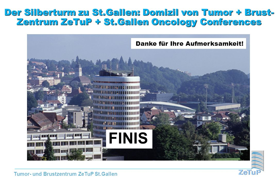 Der Silberturm zu St.Gallen: Domizil von Tumor + Brust- Zentrum ZeTuP + St.Gallen Oncology Conferences