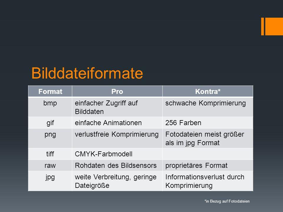 Bilddateiformate Format Pro Kontra* bmp