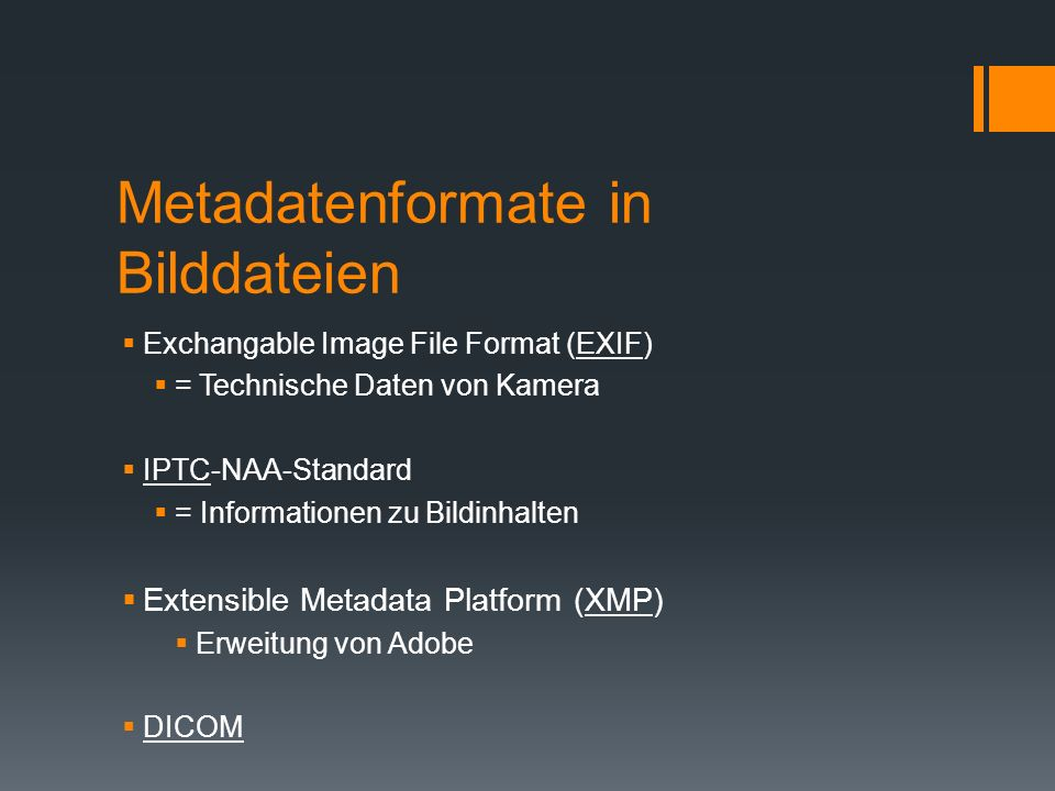 Metadatenformate in Bilddateien