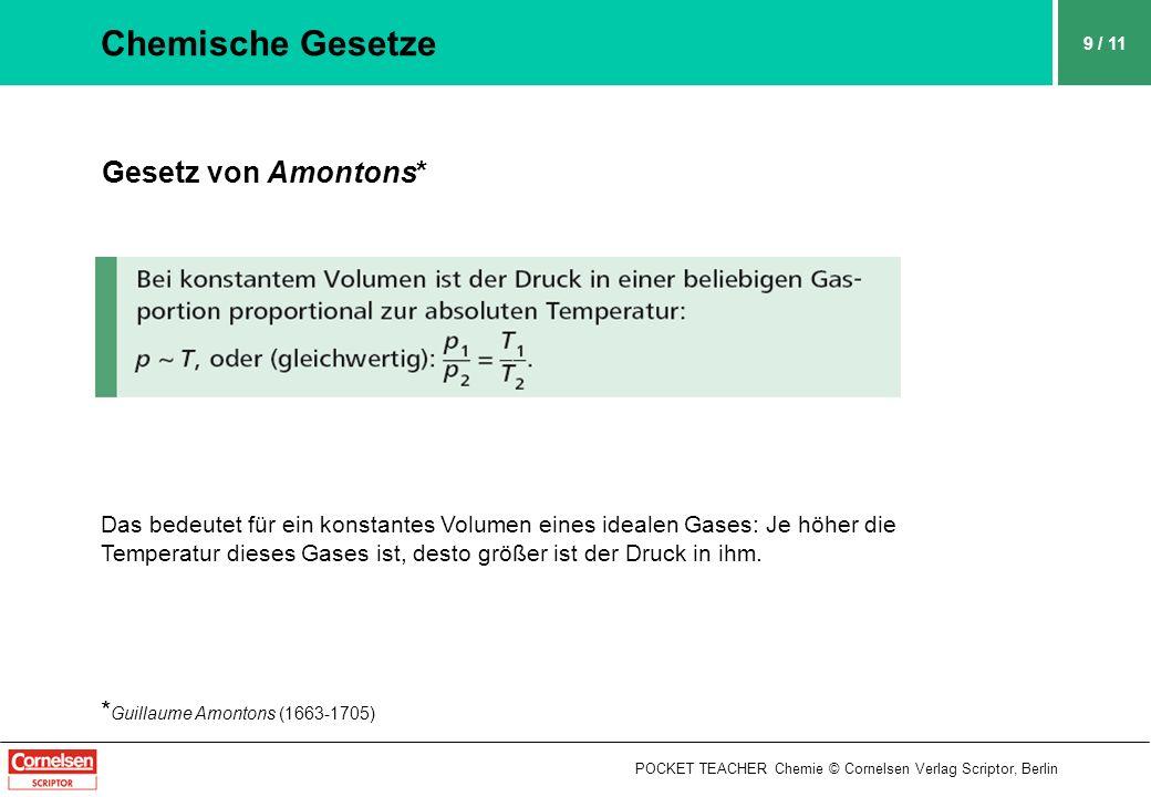 Chemische Gesetze Gesetz von Amontons* *Guillaume Amontons (1663-1705)