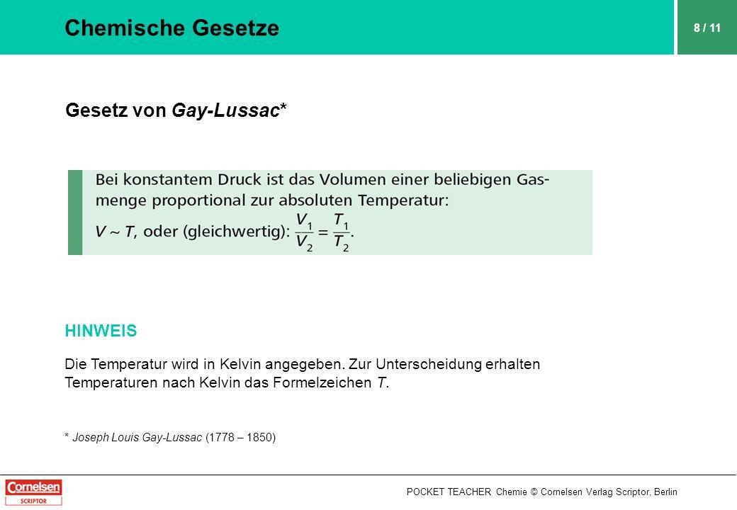 Chemische Gesetze Gesetz von Gay-Lussac* HINWEIS