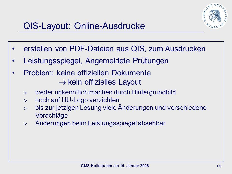 QIS-Layout: Online-Ausdrucke