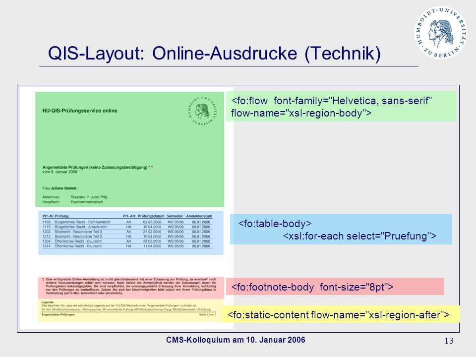 QIS-Layout: Online-Ausdrucke (Technik)