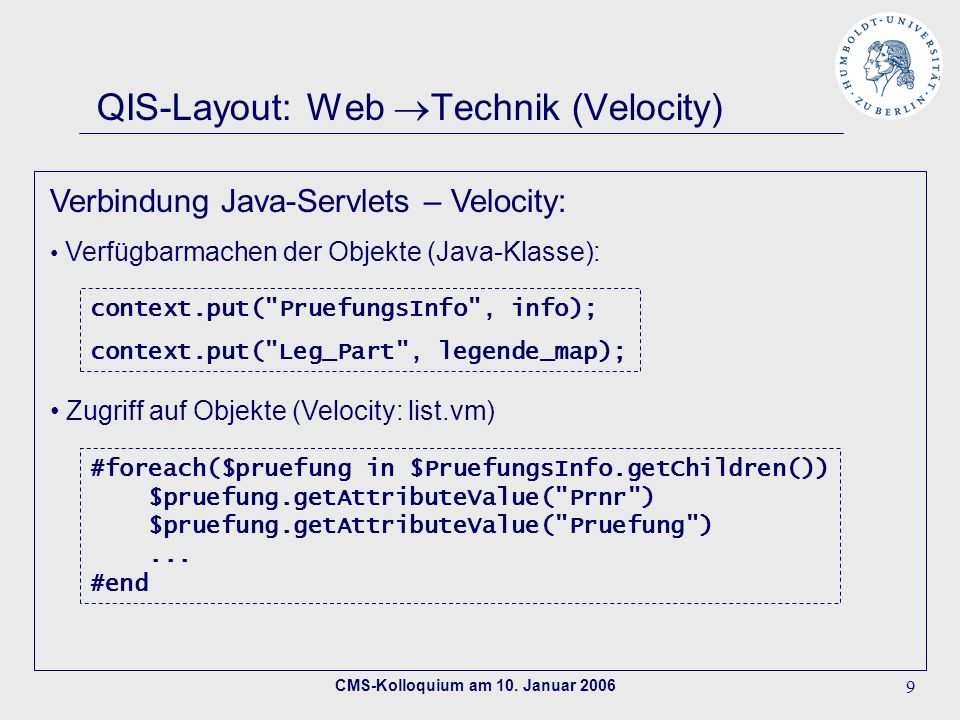 QIS-Layout: Web Technik (Velocity)