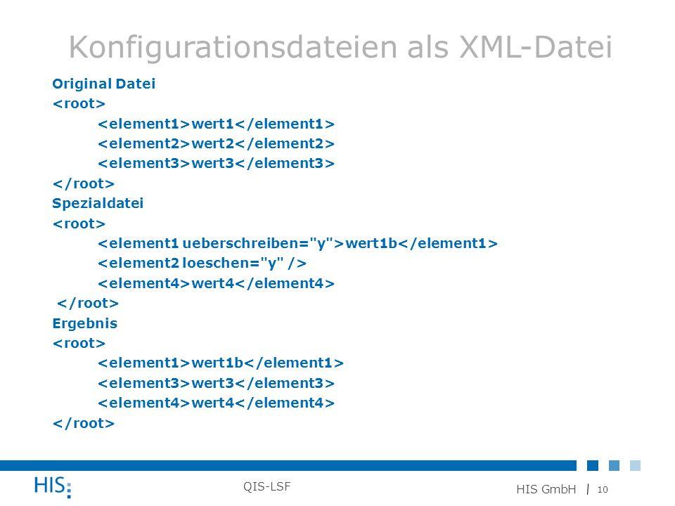 Konfigurationsdateien als XML-Datei
