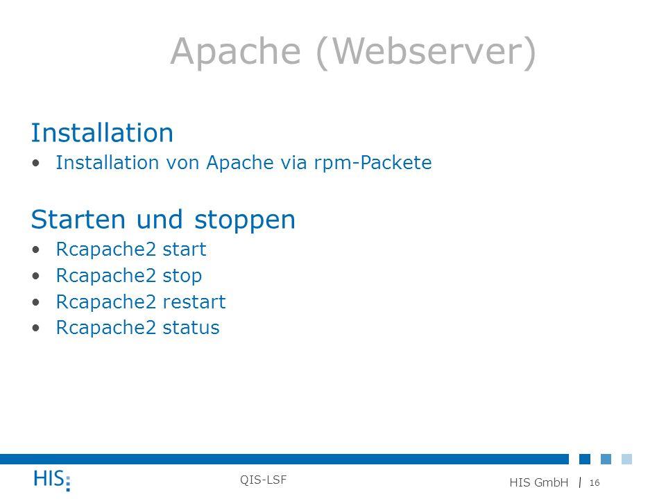Apache (Webserver) Installation Starten und stoppen