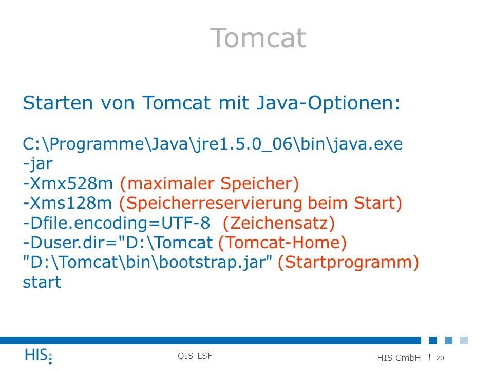 Tomcat Starten von Tomcat mit Java-Optionen: