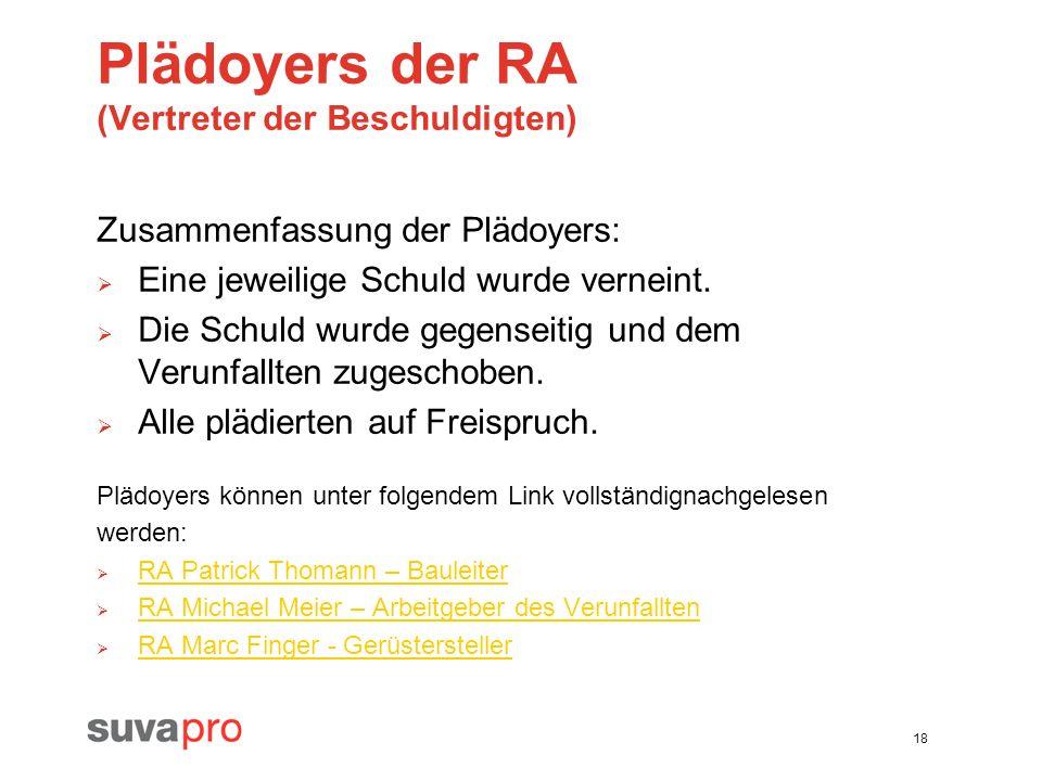Plädoyers der RA (Vertreter der Beschuldigten)