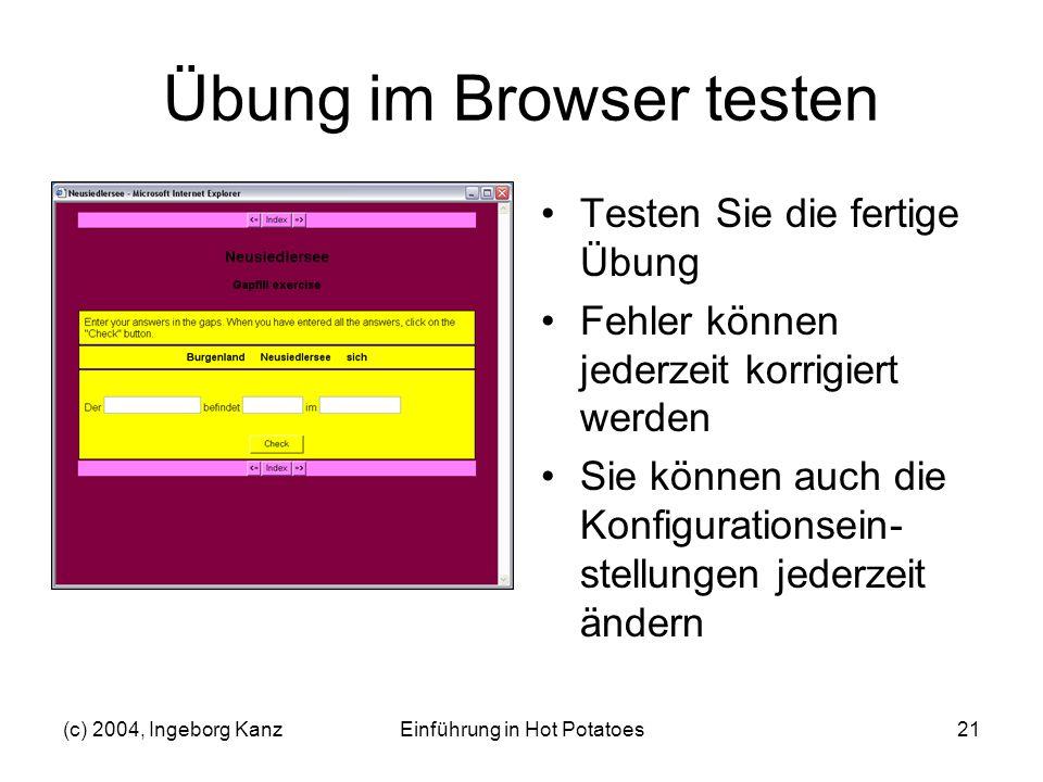 Übung im Browser testen