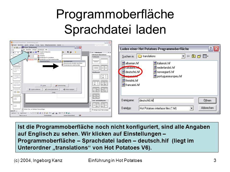 Programmoberfläche Sprachdatei laden