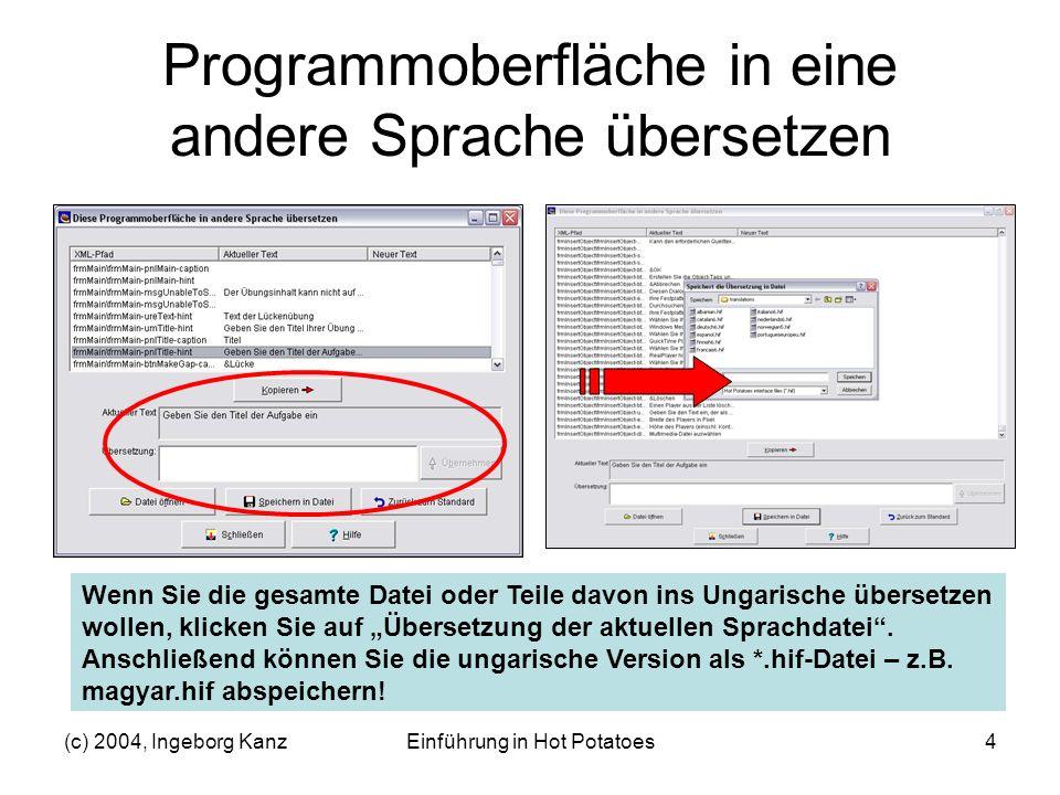 Programmoberfläche in eine andere Sprache übersetzen