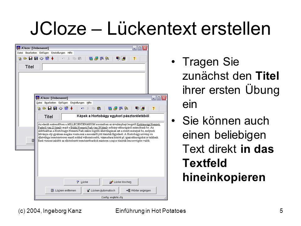 JCloze – Lückentext erstellen