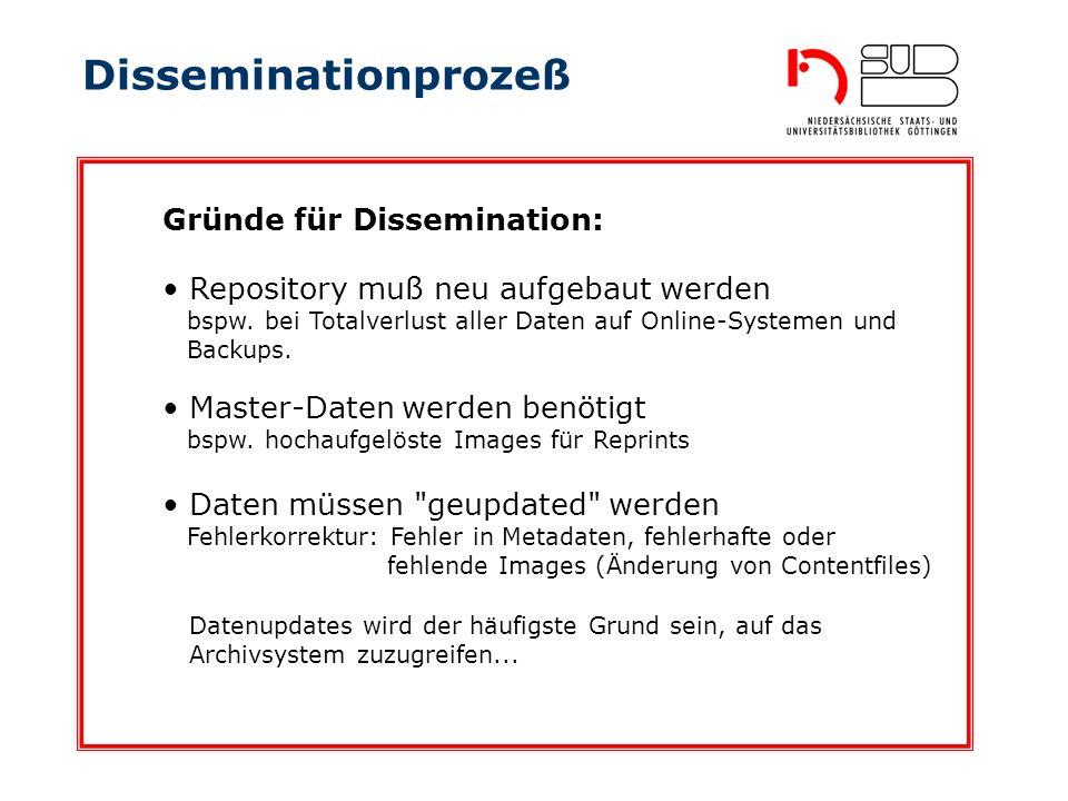 Disseminationprozeß Gründe für Dissemination: