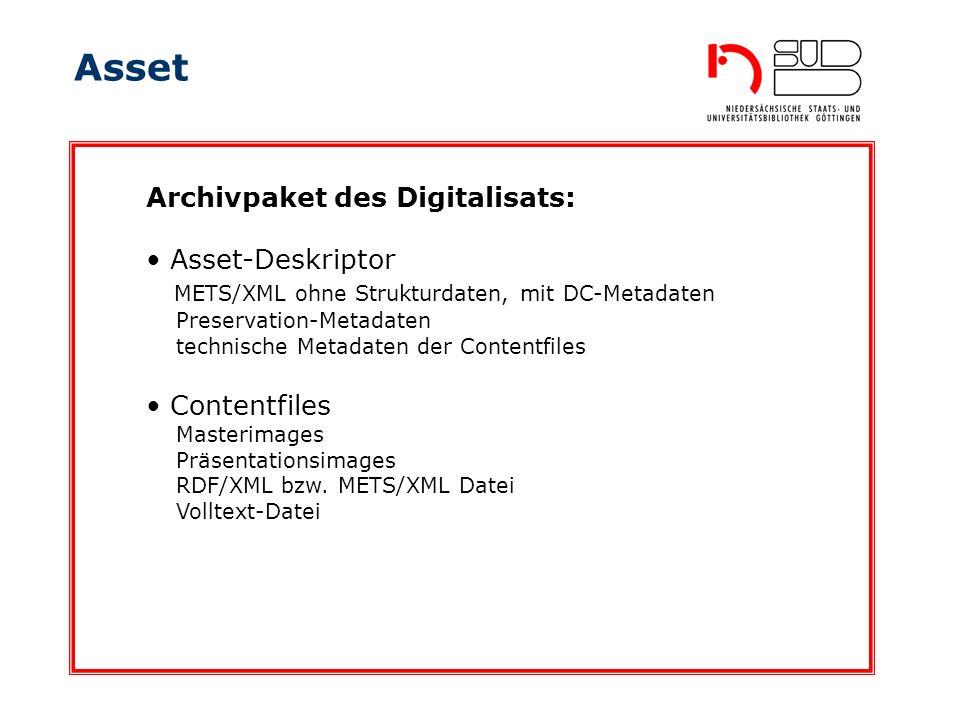 Asset Archivpaket des Digitalisats: Asset-Deskriptor