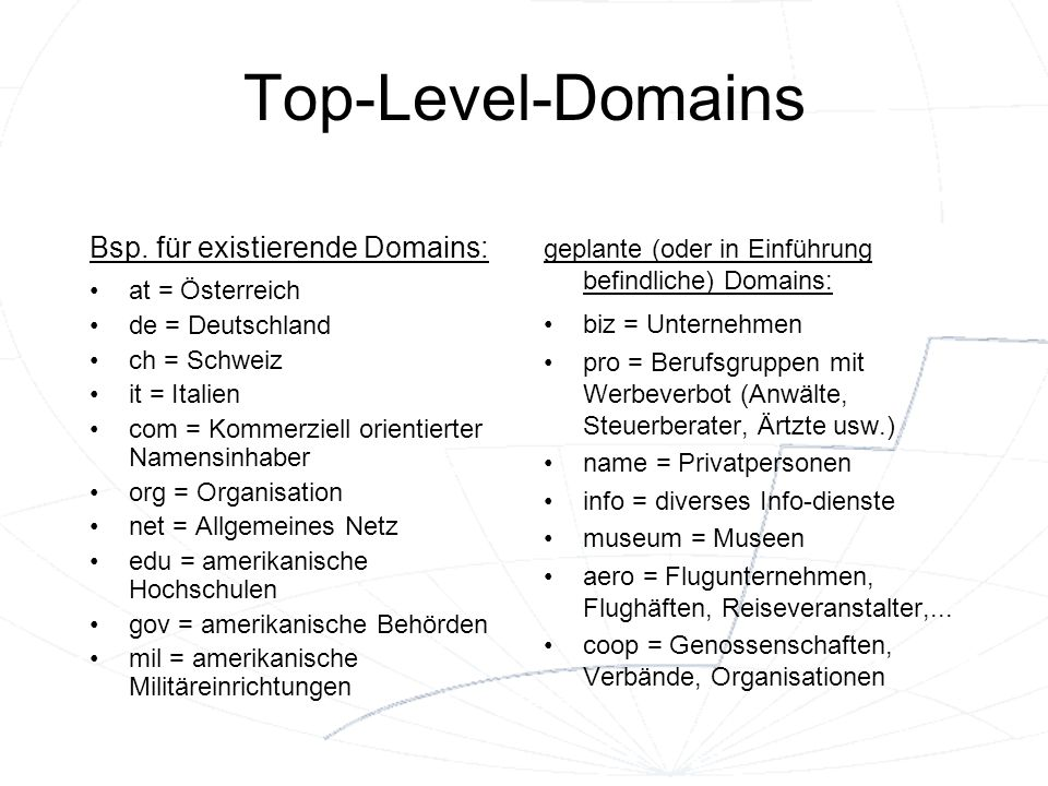 Top-Level-Domains Bsp. für existierende Domains: