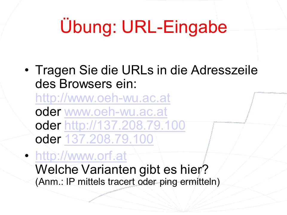 Übung: URL-Eingabe