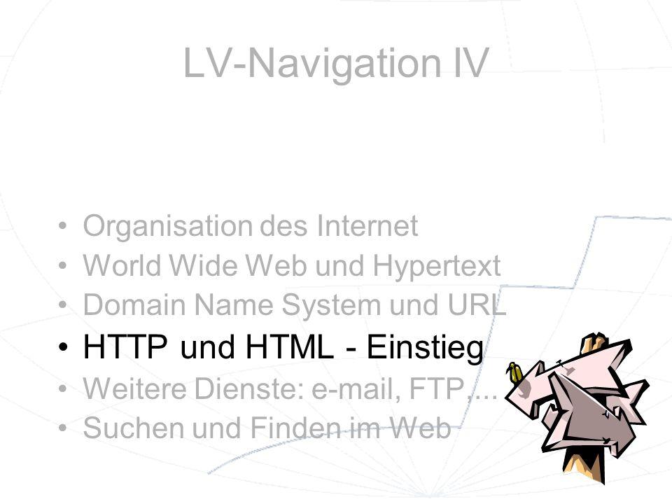 LV-Navigation IV HTTP und HTML - Einstieg Organisation des Internet