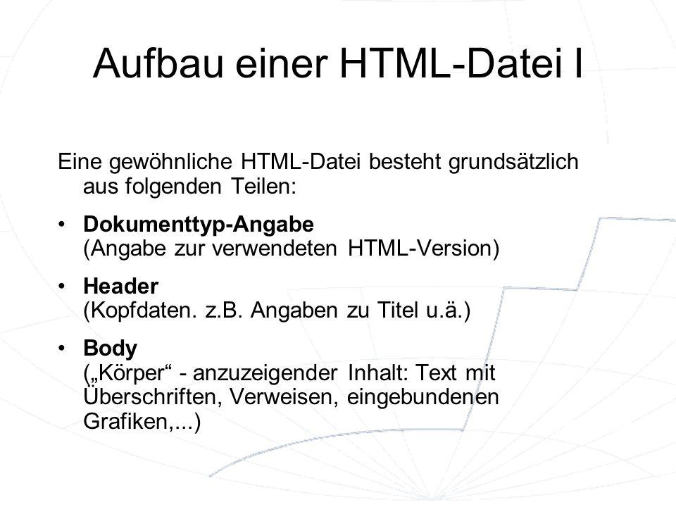 Aufbau einer HTML-Datei I