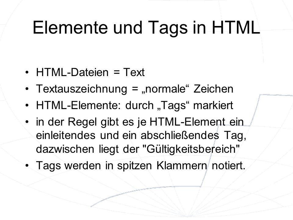 Elemente und Tags in HTML